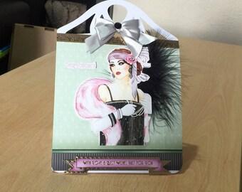 Female Birthday Card Large Easel Art Deco  - luxury personalised unique custom UK - Mum/Grandma/Daughter/Aunt/Niece/Sister/Wife
