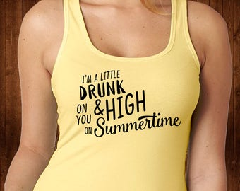 High on Summertime Tank Top - Lyrics Shirt - Lyrics Tee - Country Girl - Southern Girl - Summer Tops - Country Life - Drinking Shirt