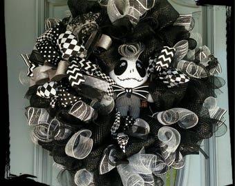 Jack Skellington Halloween Wreath, Nightmare Before Christmas Wreath