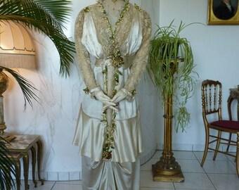 1912 Antique Wedding Dress, antique Bridal Gown, Edwardian Dress, antikes Hochzeitskleid, antikes Brautkleid
