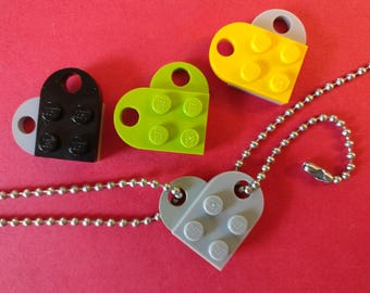 Best Friends or Couples Lego heart on beaded chain necklace & keychain, each partner takes half
