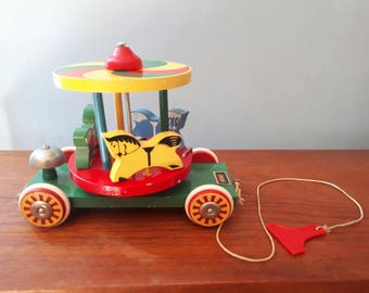 Vintage Brio Carousel Pull Toy Wooden