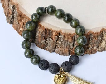 Green Quartzite Aromatherapy Bracelet with Black Diffusing Lava Beads and Gold Natural Stone with Tassel  6""