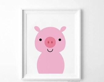 Pig Print, Nursery Art Print,SALE, Pig Wall Art, Farm Animals Decor, Nursery Printable,Pig Art,Pig Nursery,Animal Art Decor, Pig Photo Decor