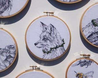 Fox with vines Embroidery Hoop