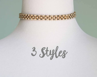 Crystal and Pearl Choker Necklace