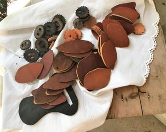 Leather Of Various Sizes and Shapes For Projects Leather pieces Round Leaf Shaped 54 pieces of leather