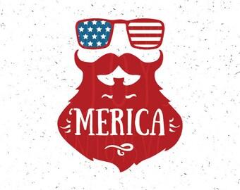 Merica svg 4th of july Svg 'Merica SVG Fourth Of July SVG merica beard svg Patriotic SVG Sunglasses Svg America Svg Independence day Svg
