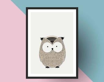 Nordic Print | PRINTABLE Scandinavian Owl- Nursery art