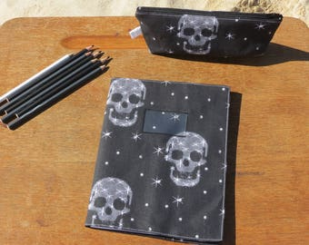 """back to school"" notebook with black cotton cover printed skull and white stars"