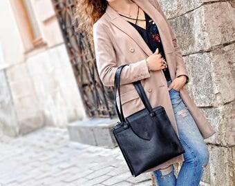 LEATHER TOTE, Black leather tote, Leather top handle bag, Leather handbags women, Womens shoulder bag, Handmade shoulder bag women