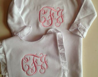 Monogrammed baby bib and baby gown, personalized baby layette