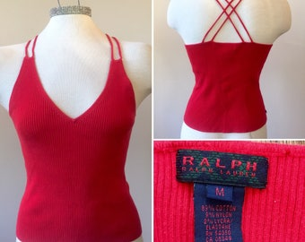 Ralph Lauren Red Ribbed Cotton Tank Top, Red Tank Top Size Medium