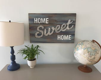 Home Sweet Home String Art-Welcome Sign-Wooden Sign-Housewarming Gift-