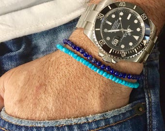 Turquoise Bracelet Mens Beaded Bracelet Mens Turquoise Bracelet Mens Jewelry Gift for him Gift for husband Gift for Fathers Day Gift for him