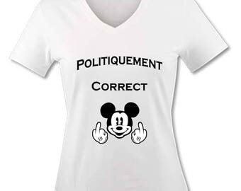 T-shirt V neck woman - politically Correct