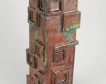 Squares on squares raku vase form II