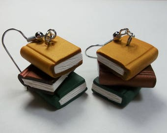 Stacked Book Earrings- Book Lover Gift, Vintage Books, Librarian Gift, Polymer Clay Earrings