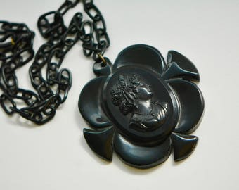Art Deco Black Bakelite Cameo with Celluloid Chain, 1930s