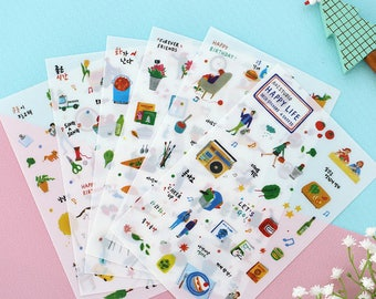 """Stickers 6 sheets set """"Happy life"""""""