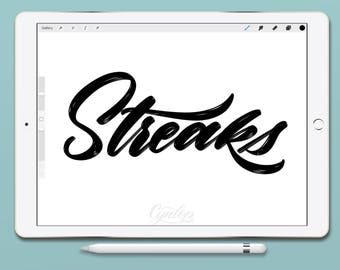 Procreate Brush, Streaks Procreate Brush, brush lettering, Procreate Brushes, Procreate Brush, Serif and sans serif, Single Brush