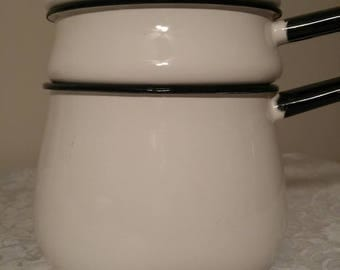 Vintage Enamelware ~ Double Boiler ~ Black and White ~ Cookware ~ Vintage Cookware