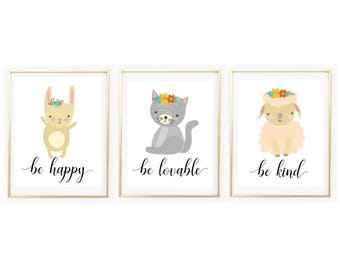 Baby Girl Nursery Prints Set, Printable Wall Art, Nursery Decor, Digital Art, Be Kind and Happy Prints