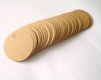 10 tags labels hardback 4cm round
