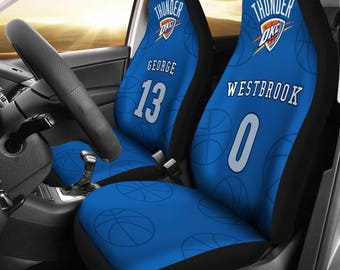 Oklahoma city thunder pair of car seat covers customizable