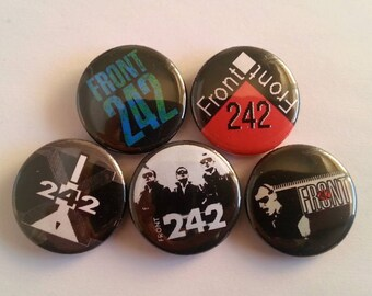 "5 x Front 242 1"" Pin Button Badges ( industrial dark ebm music )"