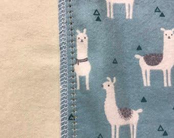 Llama Llama hemstitched flannel baby blanket.