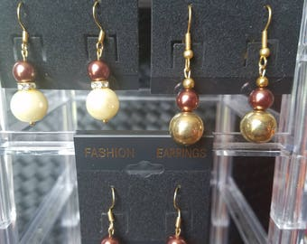 Set of 3 Chocolate Brown and Gold Earrings