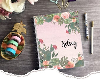 Large Size -  Horizontal Monthly & Weekly Planner - Cactus - 1 Year Planner  - 2018