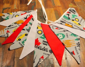 "8'2"" (2.5m) Canada Fabric Bunting, Red and White Bunting, Canada Day Bunting, Canada Flags"