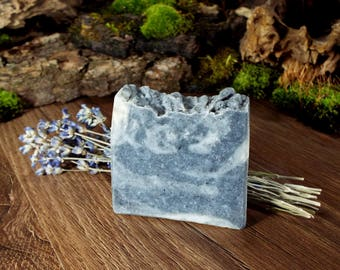 Activated Charcoal Acne Soap / Activated Charcoal Soap / Charcoal Acne Soap / Acne Detox Soap / Body and Hair Soap Bar with Lavender Oil
