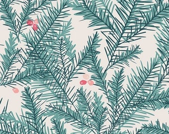 Pine Needle Fabric - Pine Needles and Berry Cotton - Be Merry Fabric - Juniper Green Material - Art Gallery Fabric - Little Town