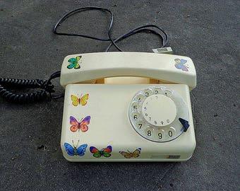 Vintage Poland disc Telephone / stationary telephone / rotary telephone / beige poland made phone / static telephone