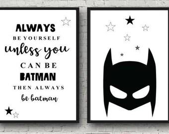 Batman print set / monochrome nursery /boys print / black and white