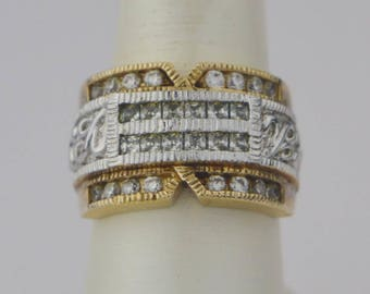 Sterling Silver 925 Gold Wash Estate Fancy Ring Size 8.25(01575)