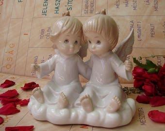 Large vintage   porcelain figurine,little angels,handpainted,stamped