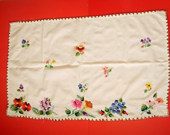 Vintage,Hungarian handmade embroidered doily & Kalocsa flower pattern
