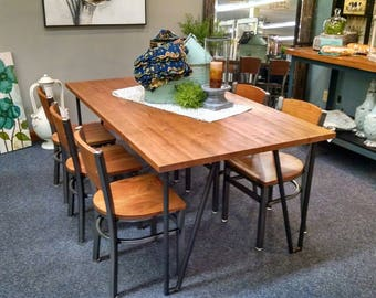 Rustic Cherry Industrial Style Dining Room Set