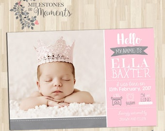 Photo Birth Announcement | Baby Birth Announcement | Baby Thank you Card | Girl Birth Announcement | Digital File | Customised