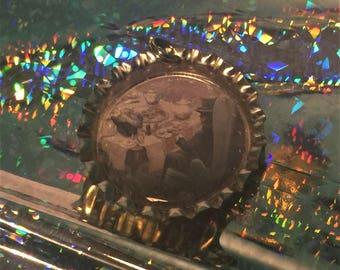 Alice in Wonderland, The Mad Hatter bottlecap necklace pendant. Johnny Depp
