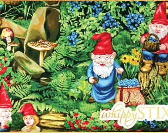 RARE! Gnome Fabric By the Yard, Very Berry Gnomes by Michael Miller Fabrics DC4200, BTY Whimsical Garden Gnome Cotton Material, Hard to Find