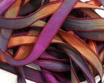 """5PC. CAMPFIRE GLOW 42"""" hand dyed wrist wrap bracelet silk ribbon//Yoga wrist wrap bracelet ribbons//Hand dyed Boho Silk wrist wrap ribbon"""