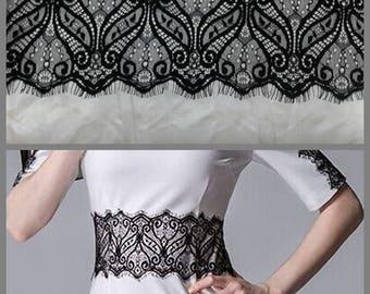 3 m * 11cm lace CHANTILLY lace black fringe REF 1025