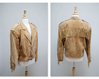Vintage Fringed Suede Jacket ⎮ 1980s Leather Biker Jacket ⎮ Tan Southwestern Boho Jacket