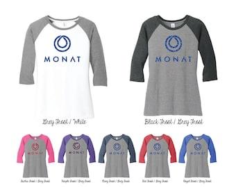 Glitter Monat 3\4 Raglan Sleeve Shirt, Monat Shirts, Monat swag, monat clothing