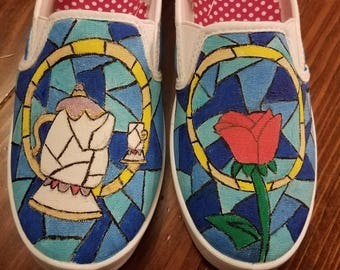 Hand Painted Beauty & The Beast Shoes